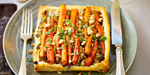 Carrot and vegetable puff pastry tart on a plate