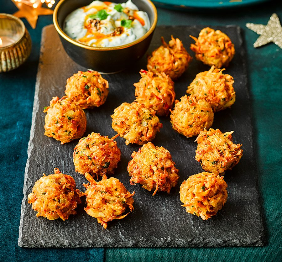 Carrot & halloumi fritters with coriander dip