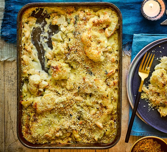 Cauliflower cheese steak & cannellini bean gratin with sage crumbs served in a roasting dish