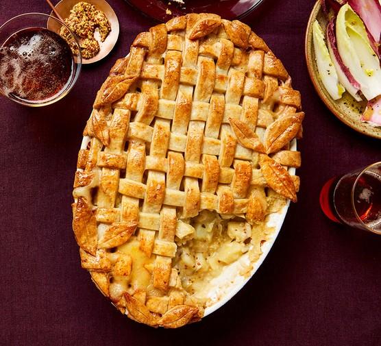 One cheese potato and apple pie