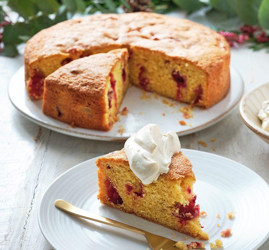 Cranberry & clementine polenta cake with zesty cinnamon cream