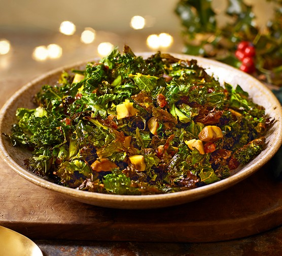 Crispy Christmas kale served in a large bowl