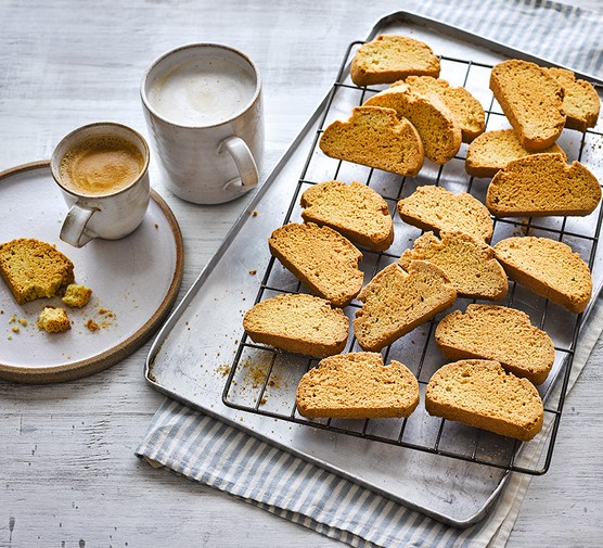 Easy biscotti on a wire rack
