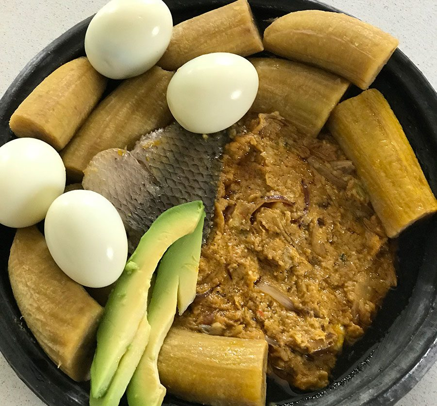 Garden eggs stew with boiled green plantain