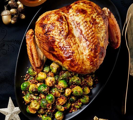 One garlic and herb stuffed tender turkey crown