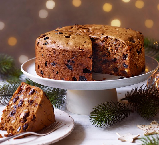 Gluten free Christmas cake served on a cake stand