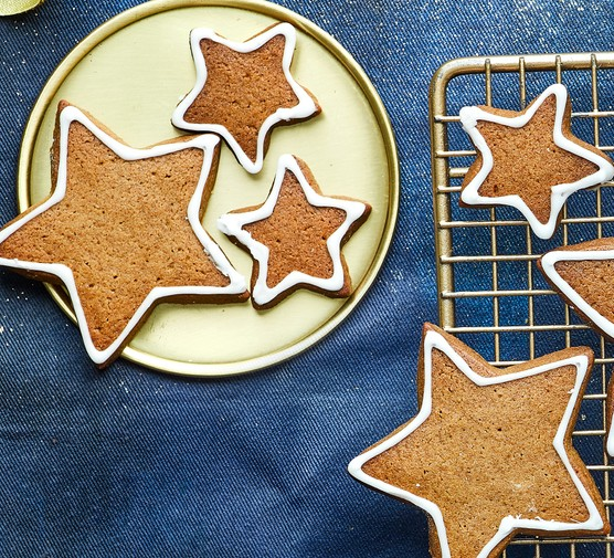 Gluten free gingerbread shaped into stars