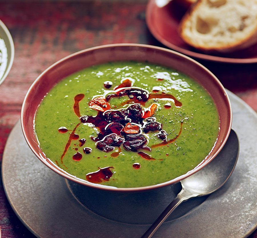 Greens, potato & chorizo soup