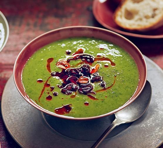 One serving of greens, potato & chorizo soup