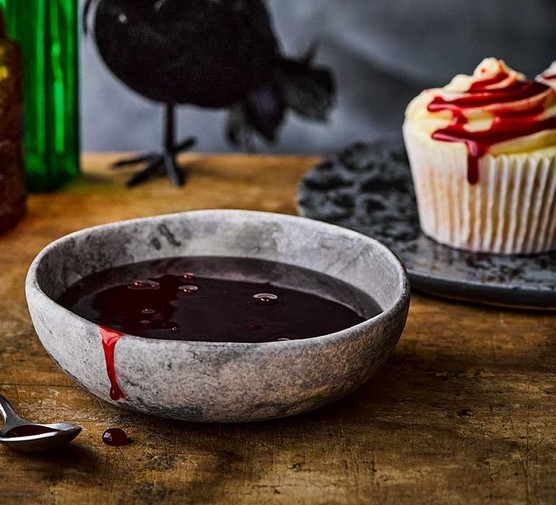 Halloween fake blood in a small dish