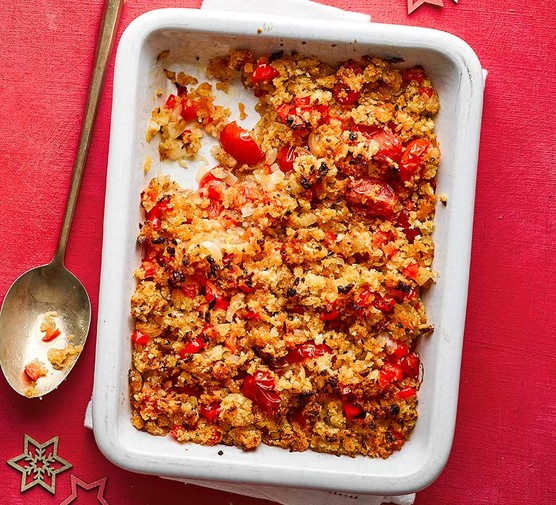 Jamaican stuffing in a baking dish