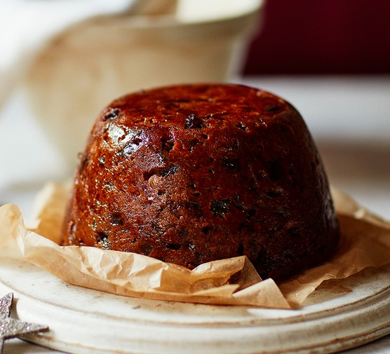 Lighter Christmas pudding on baking parchment