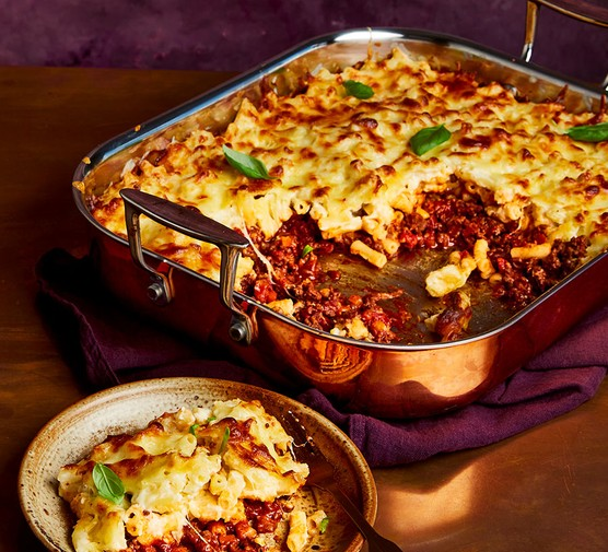 Macaroni cheese lasagne served in a large serving dish