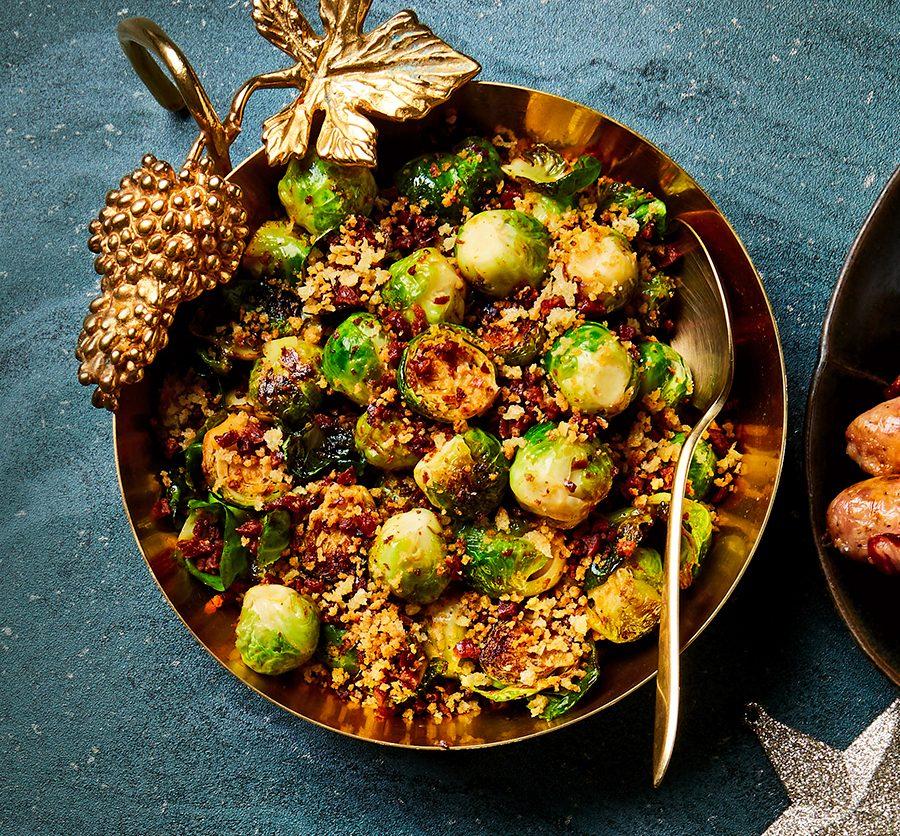 Pan-fried sprouts & crunchy chorizo crumbs