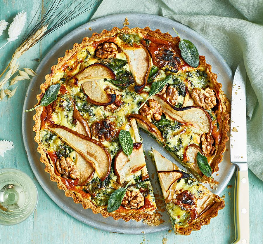 Pear, walnut & blue cheese tart