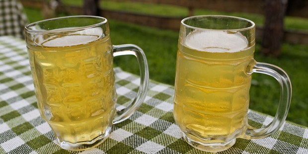 Two glasses of cider