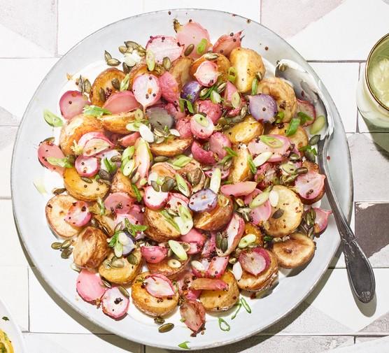 Chopped new potato and radish salad on a plate