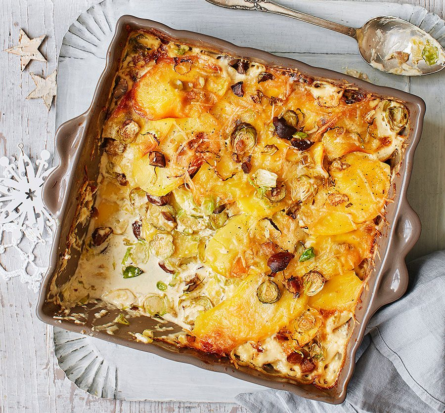 Potato, shredded sprout & chestnut gratin