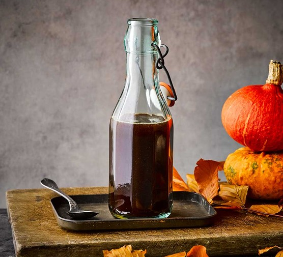 Pumpkin spice syrup served in a bottle