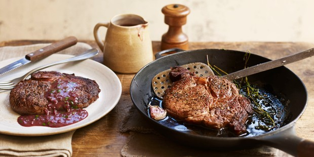 Pan-Fried Rib-eye steak
