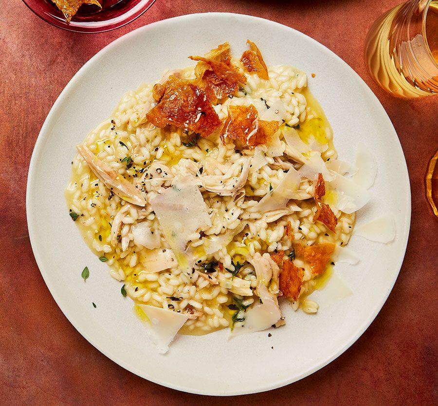 Roast chicken risotto with chicken crackling