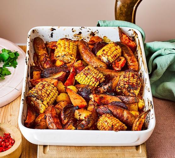 One sausage & sweet potato traybake