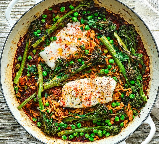 Smoky cod, broccoli & orzo bake served in a large dish