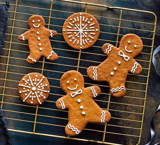 Soft gingerbread cut into gingerbread people and circles
