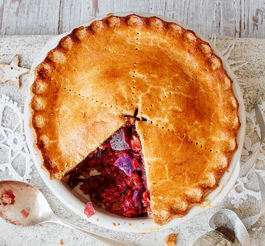 Spiced beet & red spelt pie with horseradish pastry