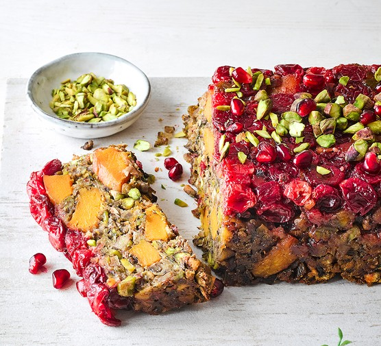 Easy vegan nut roast with a slice cut out