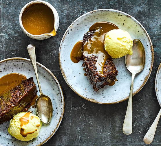 Two servings of slow cooker sticky toffee pudding