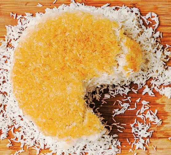 Persian basmati rice chelo (tahdig), showing the crust