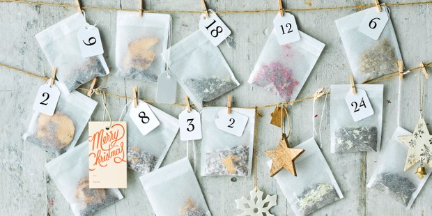 A festive tea advent calendar on string