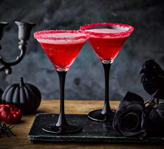 Two glasses of vampire kiss cocktail