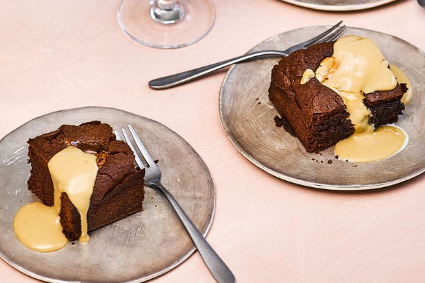 Espresso Martini brownies on plate with fork