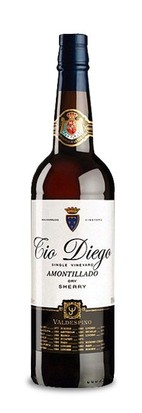 A bottle of amontillado sherry set against a white background