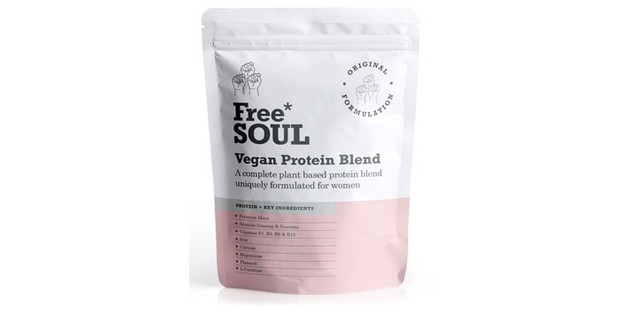 A packet of vegan protein powder on a white background