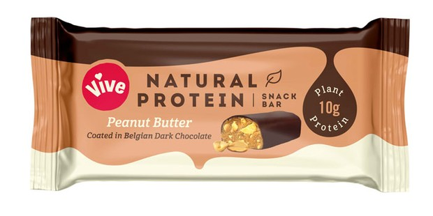 A vegan protein bar on a white background