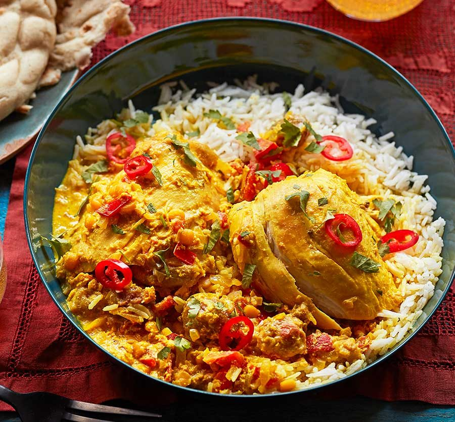 Afghan-style chicken korma with dried sour plums