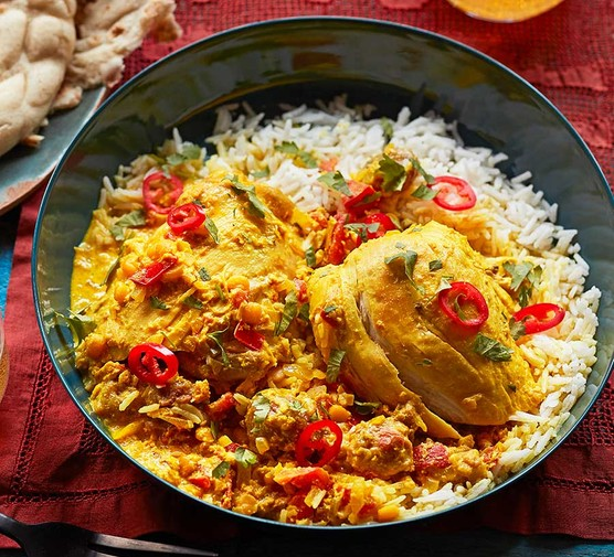 Afghan-style chicken korma with dried sour plums served with rice