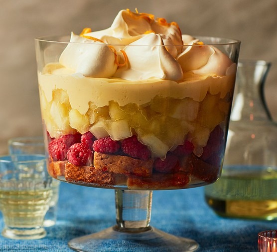 Apple, raspberry & whisky trifle in a trifle glass