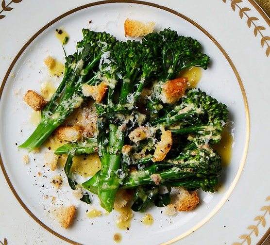 Broccoli caesar salad on a plate