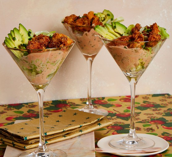 Cajun-style prawn cocktail in three cocktail glasses