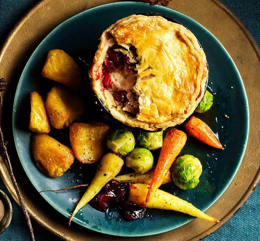Christmas dinner pie with roasted veg