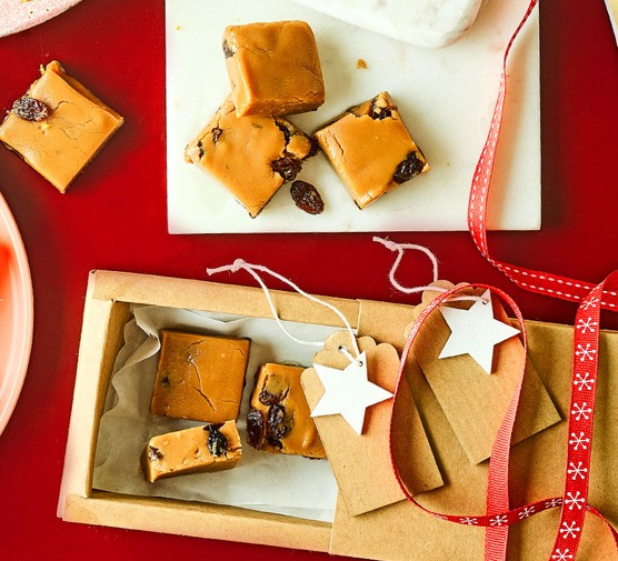 Christmas fudge in gift wrap