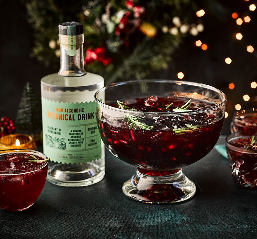 Pomegranate & rosemary non-alcoholic Christmas punch