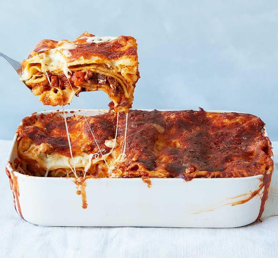 Slow-cooked chunky beef lasagne