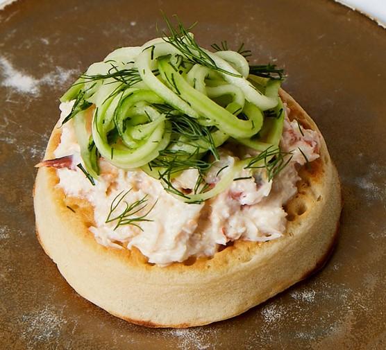 One crab & cucumber crumpet