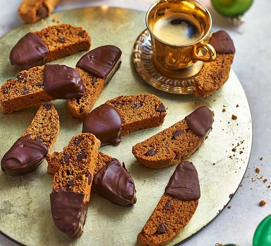 A selection of espresso and dark chocolate biscotti
