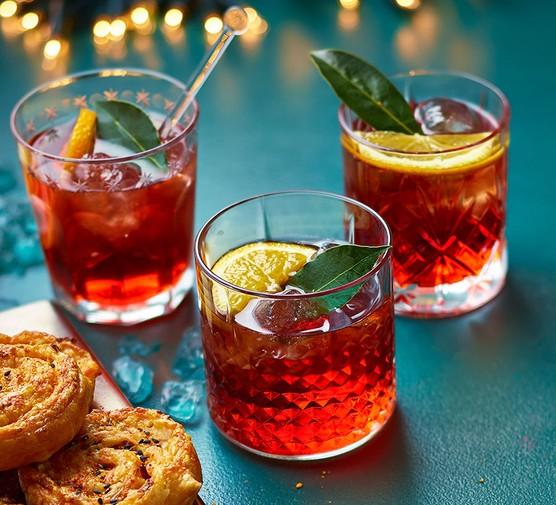 Festive negroni in 3 glasses